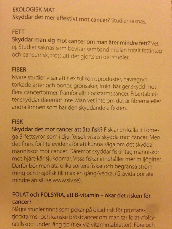 Frukt, grönsaker och fibrer minskar risken för cancer.