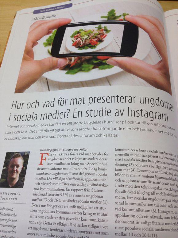 Intressant studie om hur matbilder används av ungdomar i sociala medier